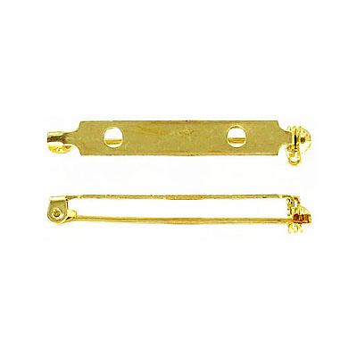 Bar pin with swivel closure 38mm (1 1/2inch) gold plate