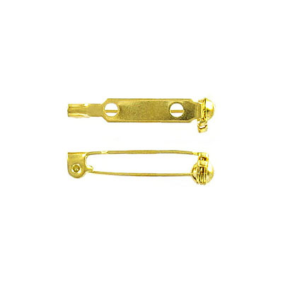 Bar pin with swivel closure 25mm (1inch) gold plate