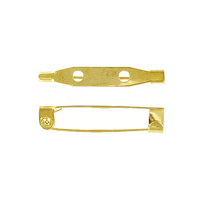 Bar pin with hook closure 32mm (1 1/4inch) brass plate