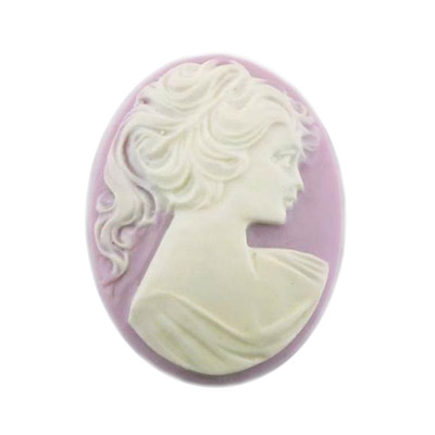 Cameo white face on lilac background