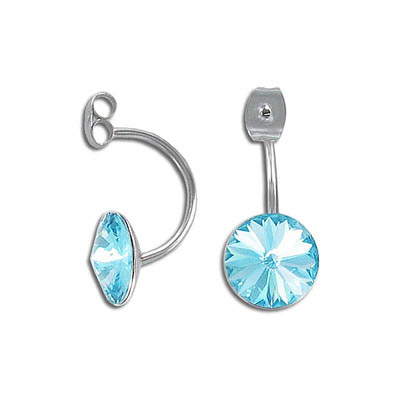 Clutch back setting for earrings, 25x11mm, with setting for ss47 size crystal, stainless steel, 304l