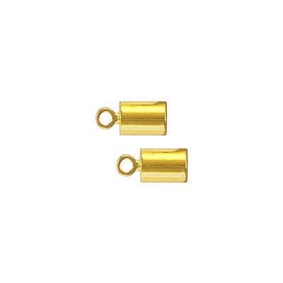 Cord end, 7x4mm, (id 3mm), gold plate