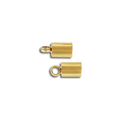 Cord end, 7x4mm, inside diameter 3mm, stainless steel, gold vacuum plating