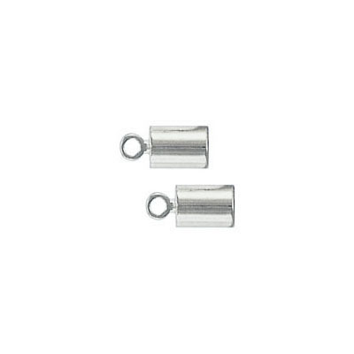 Cord end, 7x4mm, (id 3mm), silver plate