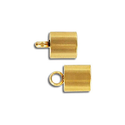 Cord end, 11x7mm, inside diameter 6mm, stainless steel, gold vacuum plating