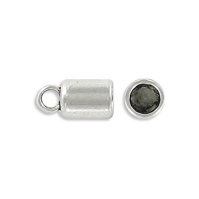 Cord end, 12mm, inside diameter 5mm, zamak (zinc alloy), antique silver