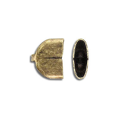 Cord end for chain CC/10MMF, 11.5x9mm, inside diameter 10.35x3.75mm, antique brass