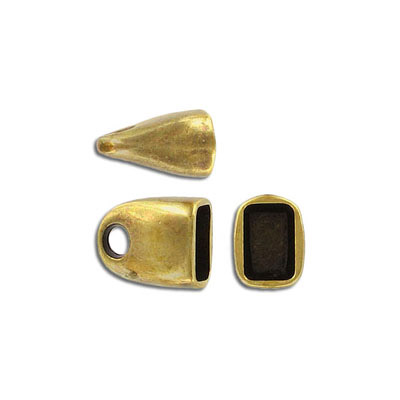 Cord end for Regaliz leather tt10x7mm, inside diameter 10x7mm, antique brass