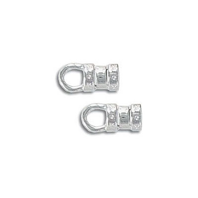 Cord end, 3.0mm, silver plate