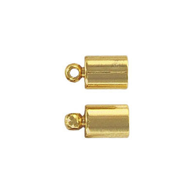 Cord end with loop, 11x6mm, id 5mm, gold plate