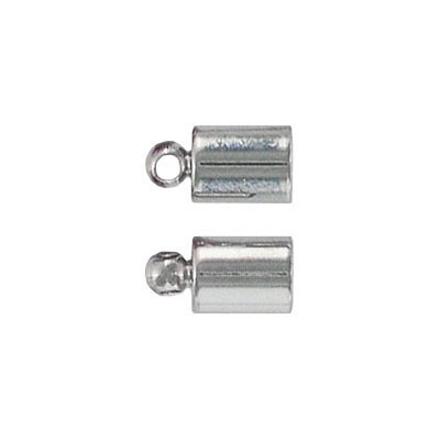 Cord end with loop, 11x6mm, id 5mm, imitation rhodium plate