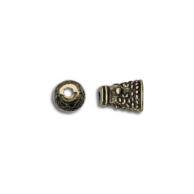 Cord end, antique brass, height 8mm, width 2mm, inner diameter 1.6mm