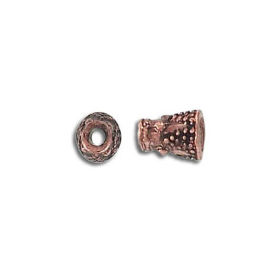 Cord end antique copper, height 8mm, width 2mm, inner diameter 1.6mm