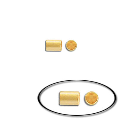 Cord end, 5.5x4mm, inside diameter 3.2mm, brass core, gold plate