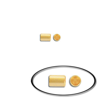 Cord end, 4x3mm, inside diameter 2.2mm, brass core, gold plate
