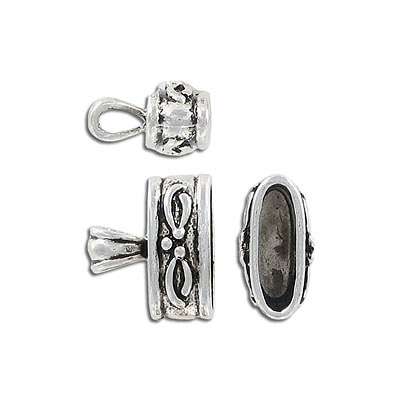 Cord end, 20x9mm, inside diameter 16x6mm, antique silver