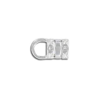 Crimp cord end, 5.0mm hole, silver plate