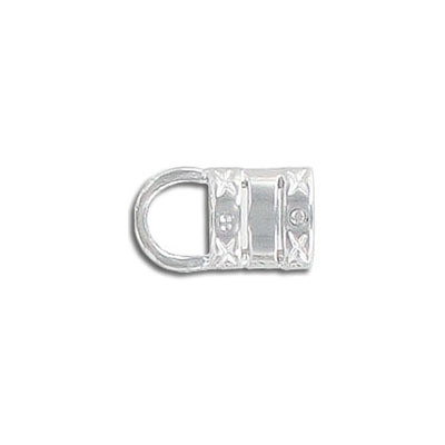 Crimp cord end, 6.0mm hole, silver plate