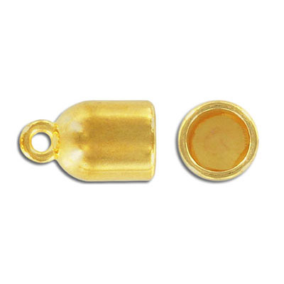 Cord end, 22x13mm, inside diameter 10mm, zinc alloy, gold plate, nickel free. Made in Europe
