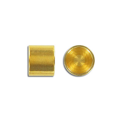 Cord end, 12x10mm, brass base end cap, inside diameter 10mm, gold plate, nickel free. Made in Europe