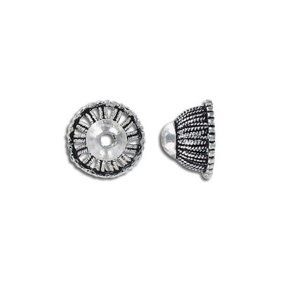 Cord end, 9x13mm, inside diameter 9mm, antique silver, can be used as bead cap