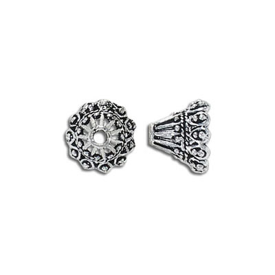 Cord end, 10x12mm, inside diameter 9mm, antique silver, can be used as bead cap