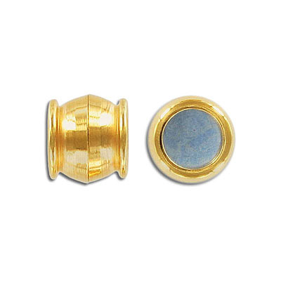 Magnetic clasp, 12.5mm, round, inside diameter 10mm, gold plate