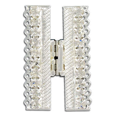 Clasp, 11 rows, 46x27mm, crystal, silver plate