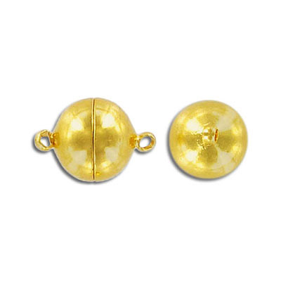 Magnetic clasp, round, 12mm, gold plate