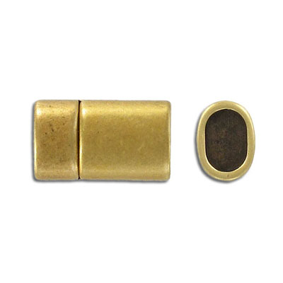 Magnetic clasp for Regaliz leather TT10X7MM, 24x13mm, antique brass