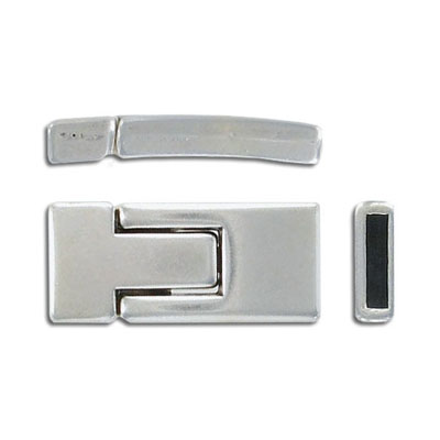 Magnetic clasp for flat Regaliz leather, 30x13mm, inner diameter 10x2.4mm, antique silver