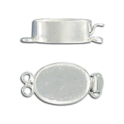 Clasp, 2-row, 18x13mm, with setting, for apoxie, white