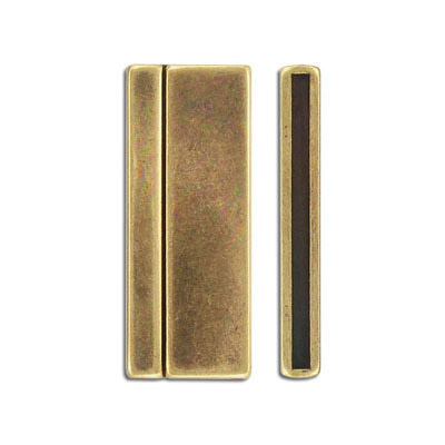Flat magnetic clasp, 43x17mm, zinc alloy (zamak), antique brass