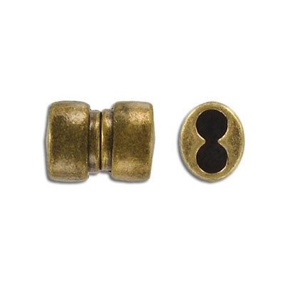 Magnetic clasp, 18x11mm, 2 holes, hole diameter 5mm, antique brass