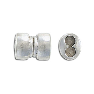 Magnetic clasp, 18x11mm, 2 holes, hole diameter 5mm, antique silver