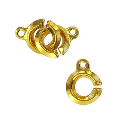 Toggle clasp (circle 13x10mm) gold plate