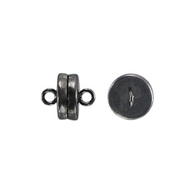 Magnetic clasp, 8mm diameter, black nickel plate