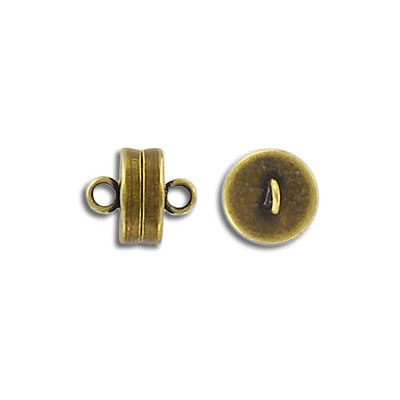 Magnetic clasp, 8mm, antique brass
