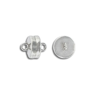 Magnetic clasp, 8mm, silver plate