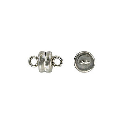 Magnetic clasp, 6mm, rhodium plate