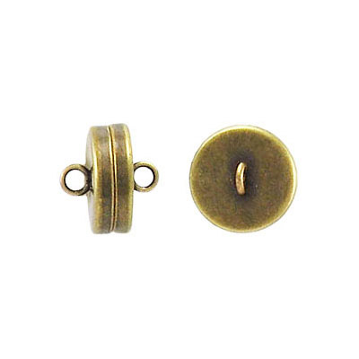 Magnetic clasp, 10mm, antique brass