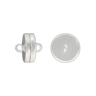 Magnetic clasp, 10mm, silver plate