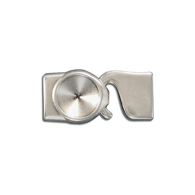 Hook clasp, 32x15mm, inside diameter 10x2mm, zink alloy (zamak), antique silver