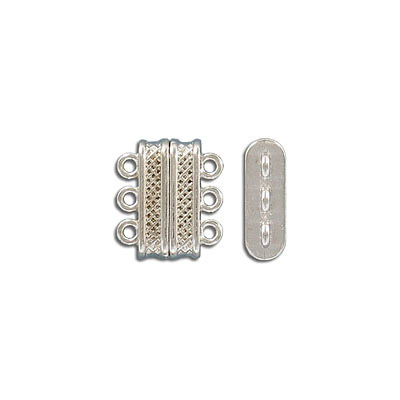 Magnetic clasp, 3-rows, 18x16mm, zamak (zinc alloy), antique silver