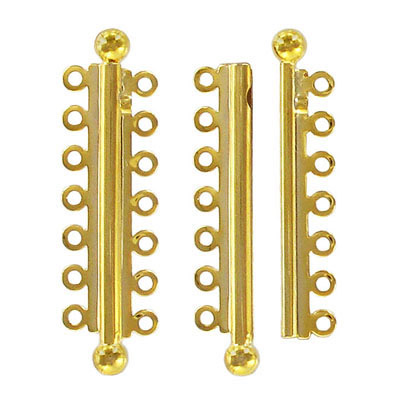 Slide lock tube clasp 7 row 47x13mm gold plate nkf