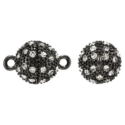Rhinestone magnetic clasp, 14mm, black nickel/crystal