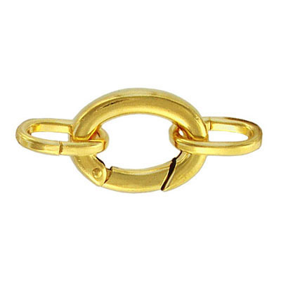 Oval clasp with 2 loops 21x15mm gold plate nkf