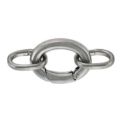Oval clasp with 2 loops 22x15mm stainless steel