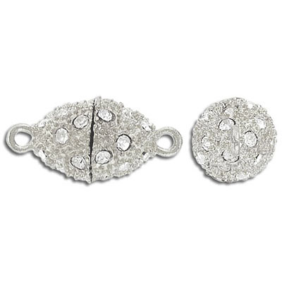 Rhinestone magnetic clasp, oval, 18x12mm, silver/crystal