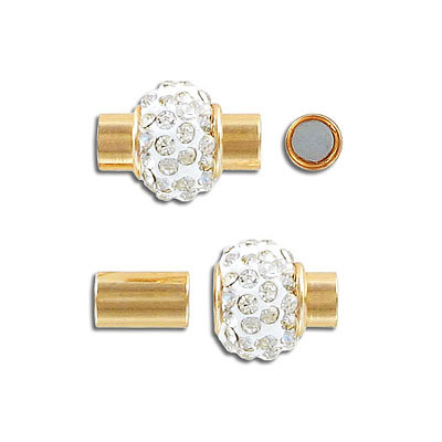Magnetic clasp, crystal pave, inside diameter 5mm, gold plate